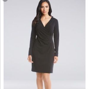 Lafayette 148 Black Faux Wrap Long Sleeve Dress